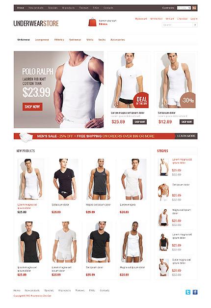 White Men's Underwear Zen Cart Template by Hermes Zen Cart  TMT