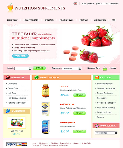 White Nutrition Store Zen Cart Template by Nessy Zen Cart  TMT