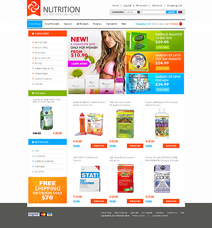 Images for White Nutrition Store Zen Cart Template by Sawyer Zen Cart ...