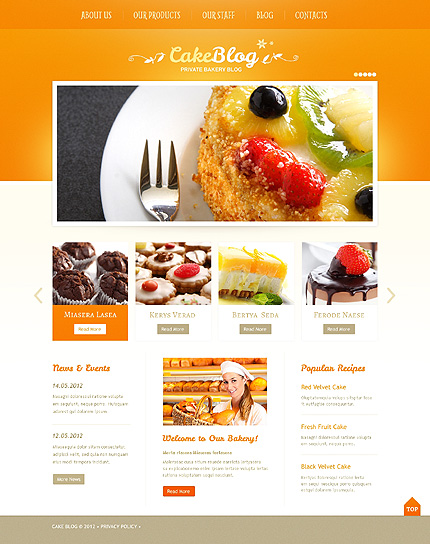 White & Orange Cooking WordPress Theme by Delta TMT