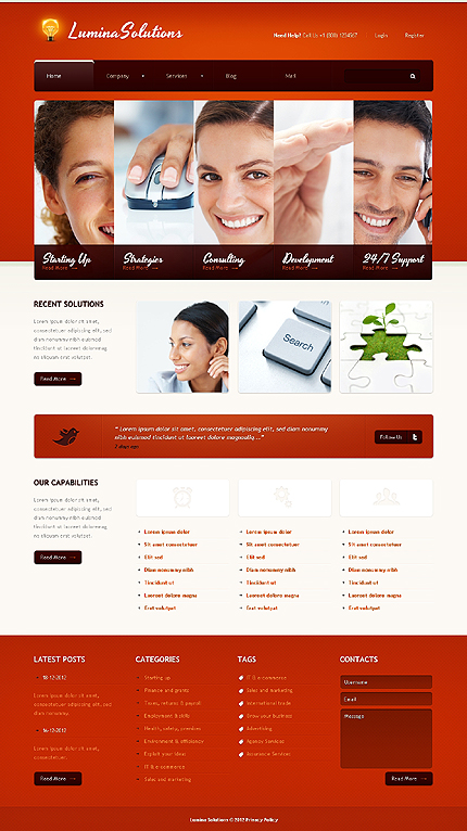 White & Red Business WordPress Template by Astra TMT