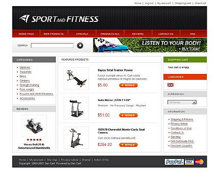 White Sports Store Zen Cart Template by Matrix Zen Cart  TMT
