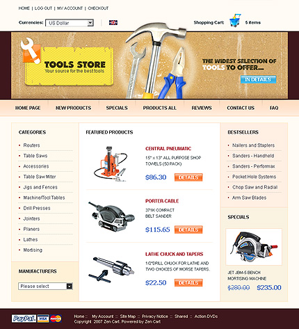 White Tools & Equipment Zen Cart Theme by Nessy Zen Cart  TMT