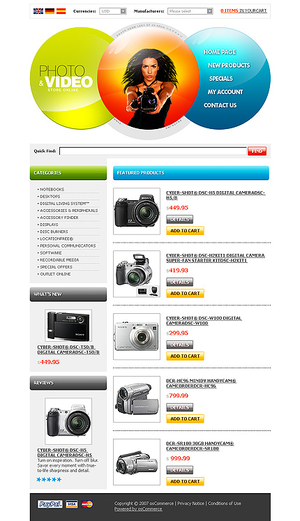 White Video Store osCommerce Template by Lovely osCommerce  TMT