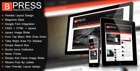 Bpress - New & Responsive/Magazin Blogger Template