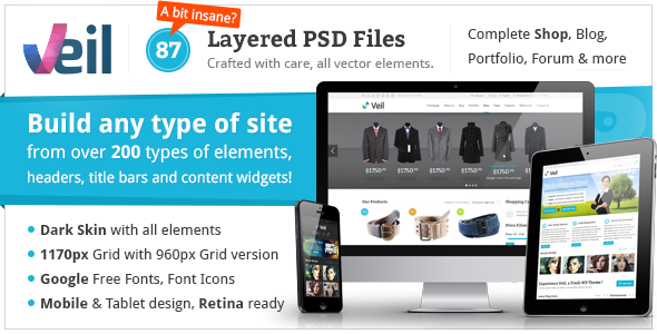 Veil - Uber Premium Multipurpose PSD Theme w/ Shop