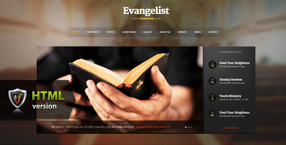 Evangelist - Church HTML Theme SiteTemplates