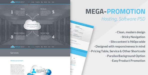 Mega - Hosting, Software Promotion PSD