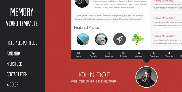 Memory - vCard Template SiteTemplates