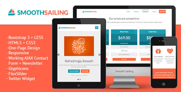 Smooth Sailing - One-Page Bootstrap 3 Landing Page