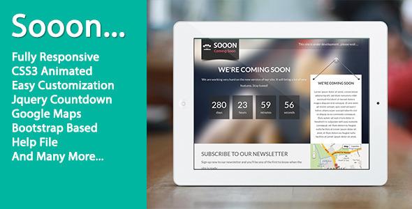 Sooon - Animated Clean Coming Soon Template