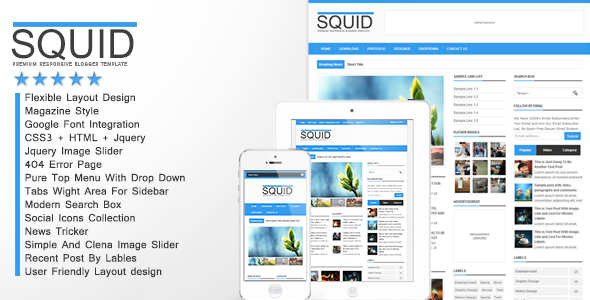 Squid - Clean Responsive Blogger Template