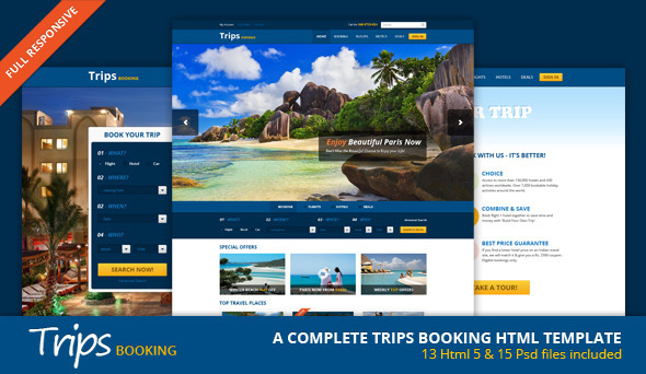 Trips Booking HTML5 Template SiteTemplates