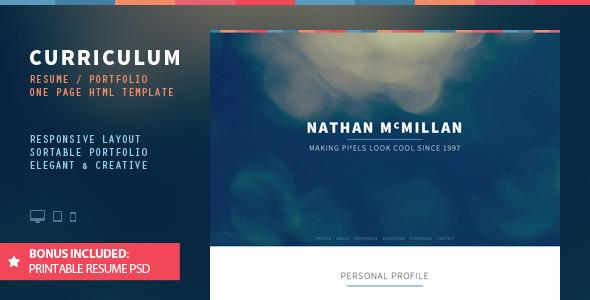 Curriculum: Responsive One-Page Portfolio / Resume