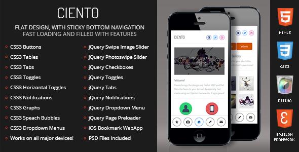 Ciento Mobile Retina   HTML5 & CSS3 And iWebApp