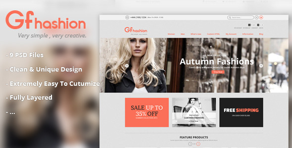 GFashion Shop PSD PSDTemplates