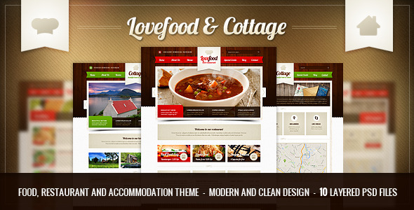 Lovefood & Cottage - food and accommodation   PSD