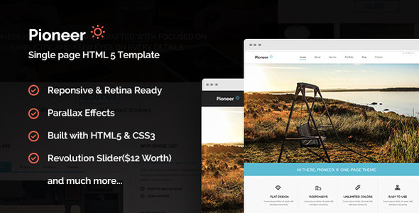 Pioneer - One Page Parallax Html Template