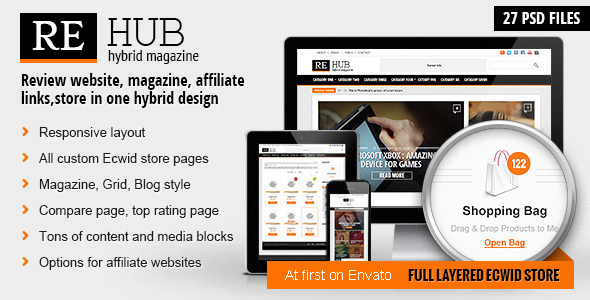 REHub - Hybrid Magazine, Shop, Review PSD Template