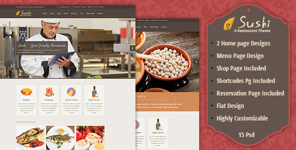 Sushi   Food Store PSD Template