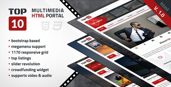 TOP 10 - Multimedia Tube  SiteTemplates