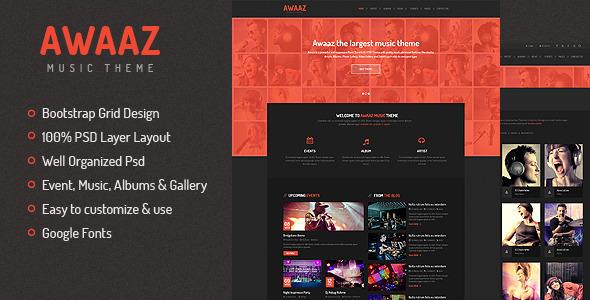 Awaaz Music PSD Template  TForest