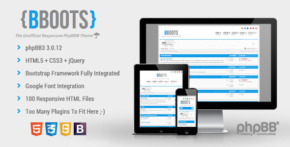 BBOOTS HTML5 - CSS3 Fully Responsive PhpBB3 Theme  TForest