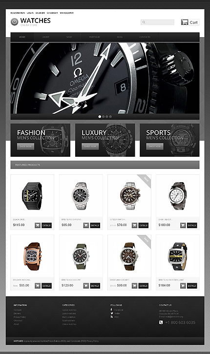 Black & White Watches Jigoshop Theme by Ares Jigoshop Themes TMT