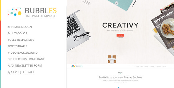 Bubbles Responsive Parallax One Page Template  TForest