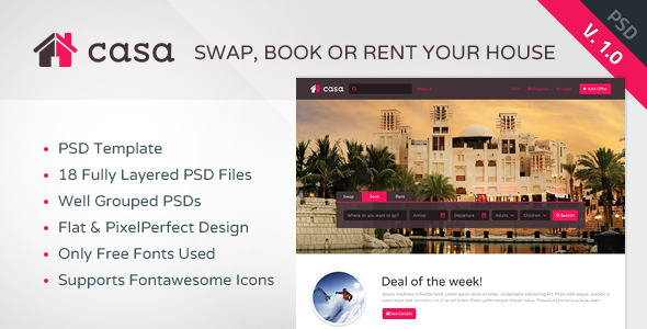 Casa - Swap, Book & Rent PSD Template  TForest