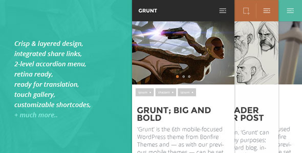 GRUNT - A Big & Bold WP Theme for Mobiles