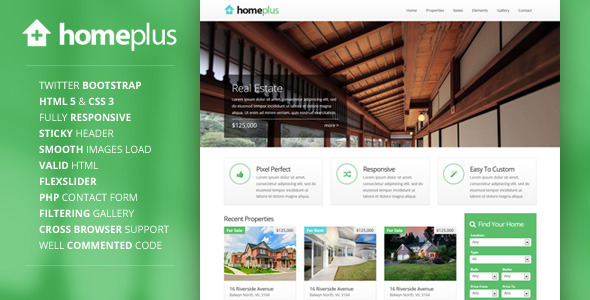 Homeplus - Responsive Real Estate Template  TForest