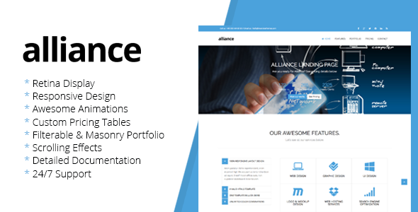 Alliance - Retina Landing Page Template  TForest