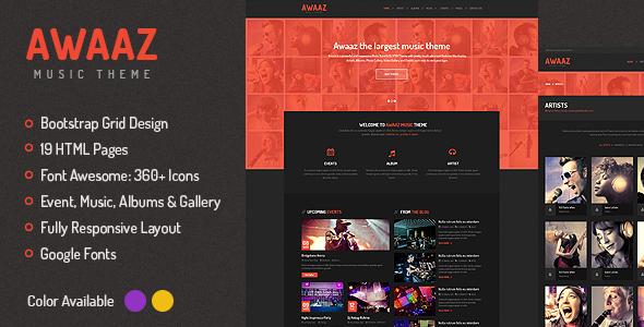 Awaaz Music - Responsive HTML5 Template  TForest