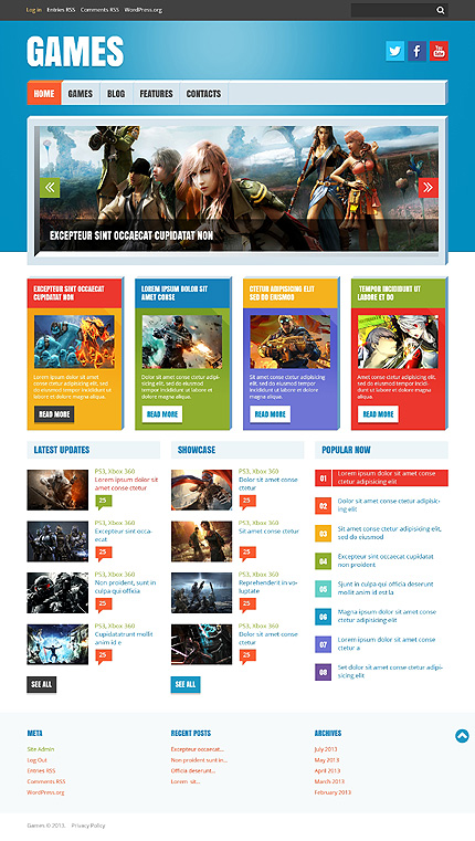 Responsive Template Store: Preview White Flash Games WordPress Theme ...