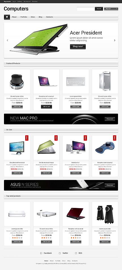White & Grey Computer Store Jigoshop Theme by Hermes Jigoshop Themes TMT