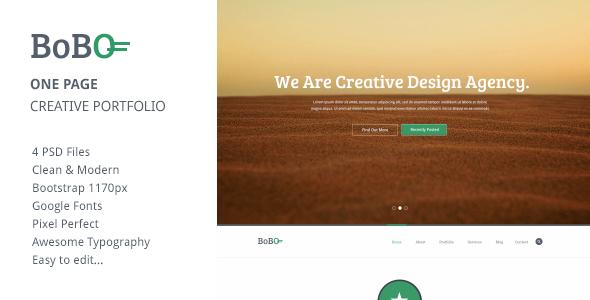 Bobo - One Page Creative Portfolio PSD Template  TForest