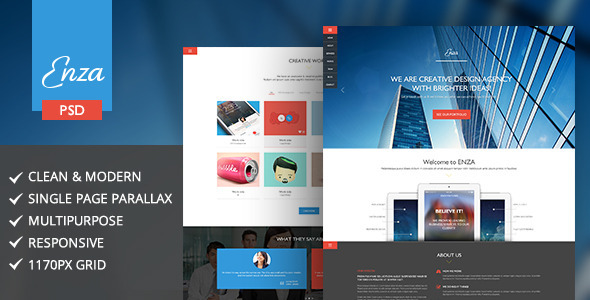 Enza | Multi-Purpose Parallax Landing Page   TForest