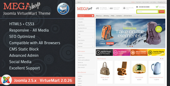 Mega Shop - VirtueMart Responsive Theme  TForest