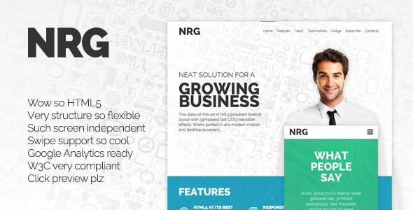 NRG - Responsive Landing Page  TForest