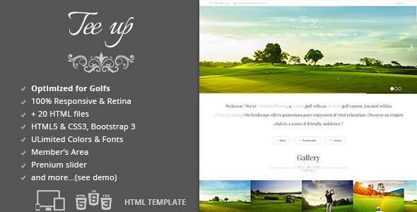 Tee Up - Golf HTML5 Template   TForest