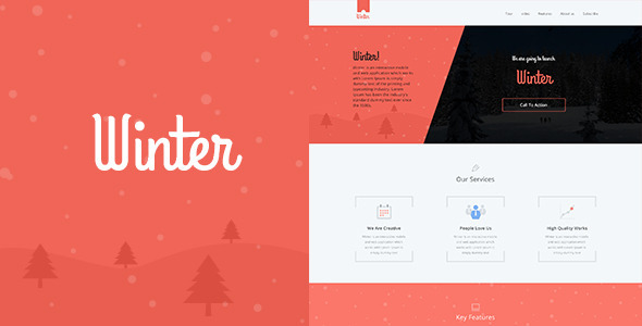 Winter One Page Colorful PSD Template  TForest
