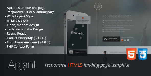 Aplant Responsive HTML5 Landing Page  TForest
