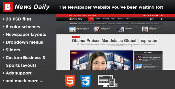 Breaking News Daily-Newspaper Magazine Blog-HTML5  TForest