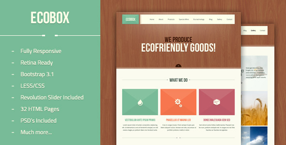 Ecobox - Responsive HTML/LESS Template  TForest