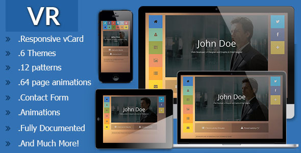 VR Responsive vCard Template  TForestSiteTemplates