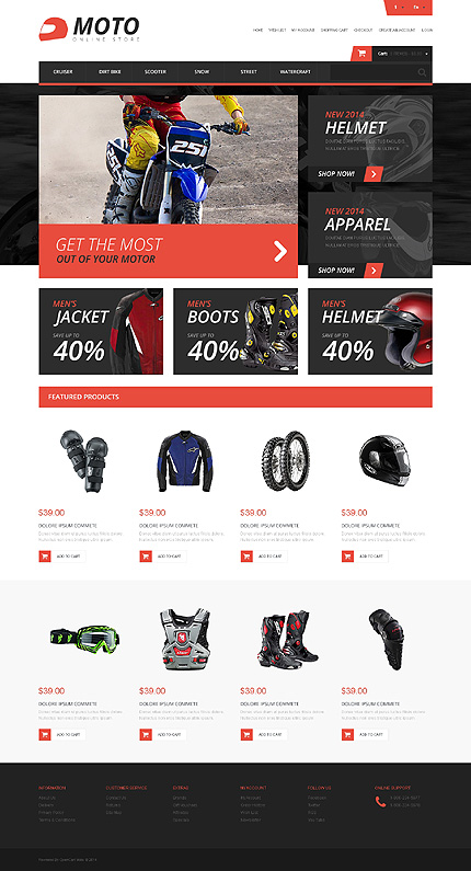 White & Black Motor Sports OpenCart Theme by Ares TMT