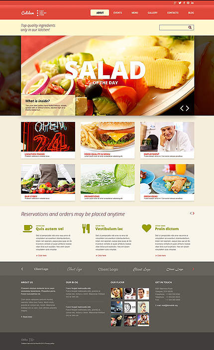 White Fast Food Restaurant Joomla Template by Cerberus TMT