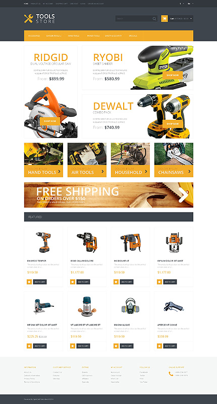 White Tools & Equipment OpenCart Theme by Ares TMT