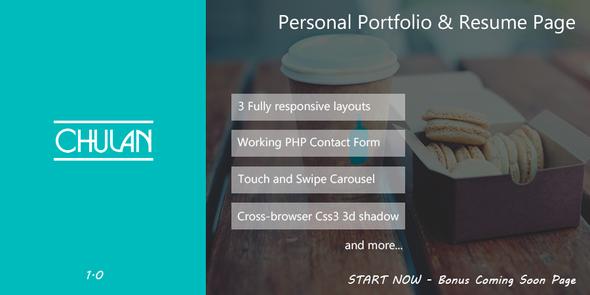 Chulan -  Personal Portfolio & Resume Page  TForest
